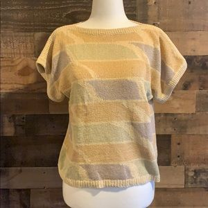 Vintage 80s Dior short sleeve woven sweater top